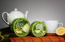 Zöld tea illatú kis diszk gyertya