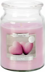 Nagy illatos gyertya fedeles üvegben - Love