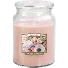 Nagy illatos gyertya fedeles üvegben - Titkos kert