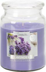 Nagy illatos gyertya fedeles üvegben - Levendula
